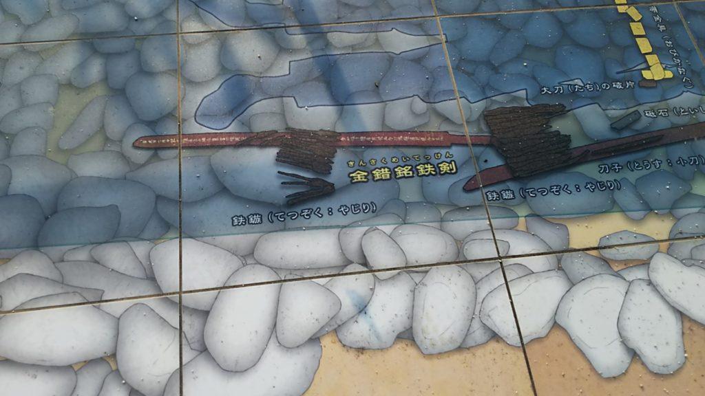 稲荷山古墳出土品位置再現図、鉄剣の位置